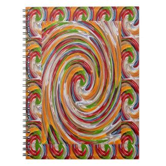Decorative Fruity Twirl Wave Pattern Spiral Notebooks