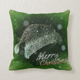 Decorative Glitter Santa Hat Merry Christmas Cushion