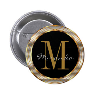 Decorative Gold and Silver Metallic with DIY Text 6 Cm Round Badge