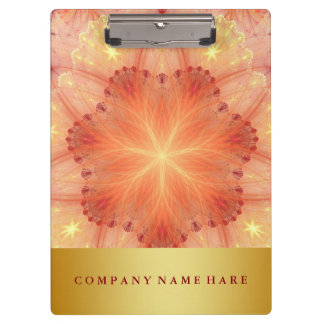 Decorative Gold Badge Orange Flower Lace Petals Clipboards