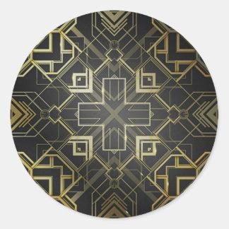 Decorative Gold Classic Round Sticker