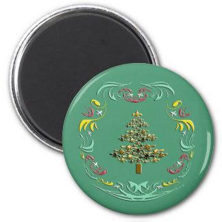 Decorative Gold Fleur de Lis Christmas Green Fridge Magnets
