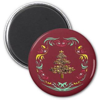 Decorative Gold Fleur de Lis Christmas Red Fridge Magnets