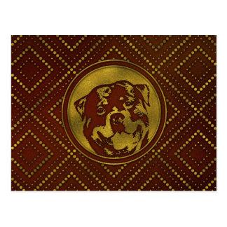 Decorative Golden Embossed -Rottweiler Postcard