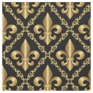 Decorative Golden Fleur-de-Lis Pattern Fabric