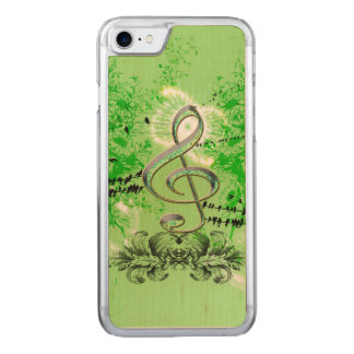 Decorative green clef carved iPhone 7 case