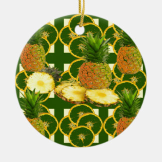 DECORATIVE GREEN-YELLOW GEOMETRIC PINEAPPLE CERAMIC ORNAMENT