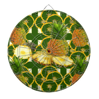 DECORATIVE GREEN-YELLOW GEOMETRIC PINEAPPLE DARTBOARD