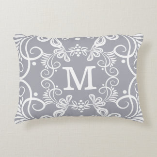 Decorative Grey White Custom Monogram Decorative Cushion