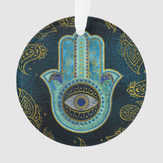 Decorative Hamsa Hand with paisley background Ornament