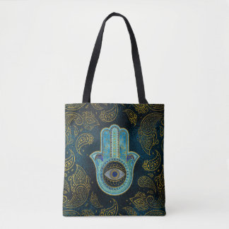 Decorative Hamsa Hand with paisley background Tote Bag