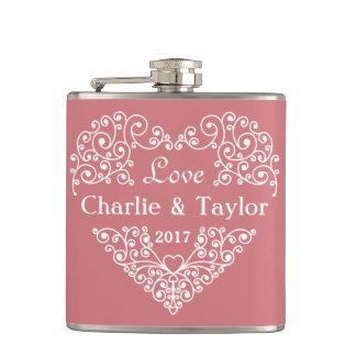 Decorative Heart custom text flask