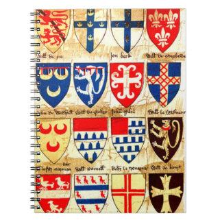 Decorative Heraldry Pattern Spiral Notebook