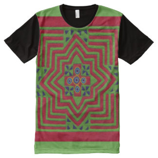 Decorative Hmong Green & Red Pattern Graphic Tee