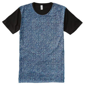 Decorative Hmong Traditional Blue Denim Pattern All-Over Print T-Shirt