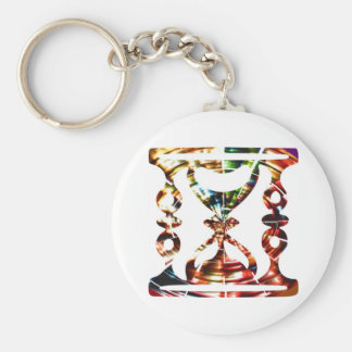 Decorative Hour Glass - Sparkling Red Design Keychain
