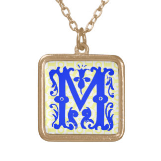 Decorative Initial Letter M Necklace