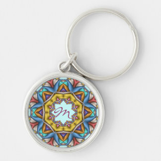 Decorative kaleidoscope Keychain with Monogram