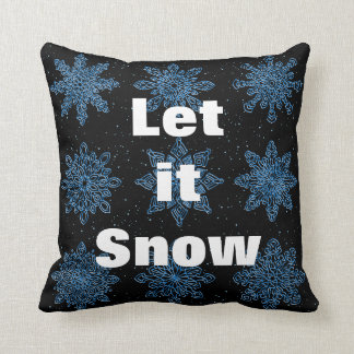 Decorative Let it Snow Crystal Snowflake Christmas Cushion