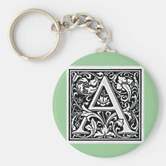 """Decorative Letter """"A"""" Woodcut Woodblock Inital Basic Round Button Key Ring"""