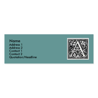 "Decorative Letter ""A"" Woodcut Woodblock Inital Pack Of Skinny Business Cards"