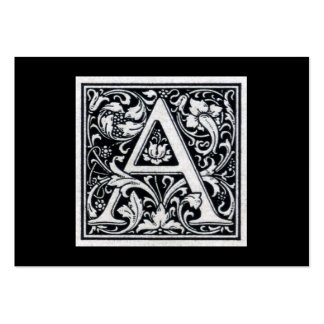 """Decorative Letter """"A"""" Woodcut Woodblock Initial Pack Of Chubby Business Cards"""