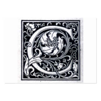"""Decorative Letter """"C"""" Woodcut Woodblock Initial Pack Of Chubby Business Cards"""