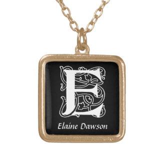 Decorative Letter E Monogram Initial Personalized Square Pendant Necklace