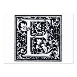 """Decorative Letter """"E"""" Woodcut Woodblock Inital Pack Of Chubby Business Cards"""