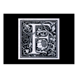 """Decorative Letter """"F"""" Woodcut Woodblock Inital Pack Of Chubby Business Cards"""