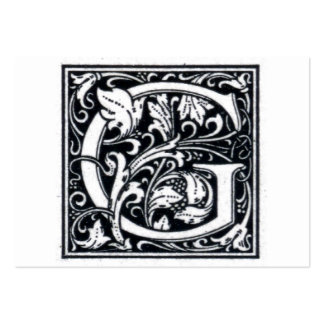 """Decorative Letter """"G"""" Woodcut Woodblock Initial Pack Of Chubby Business Cards"""