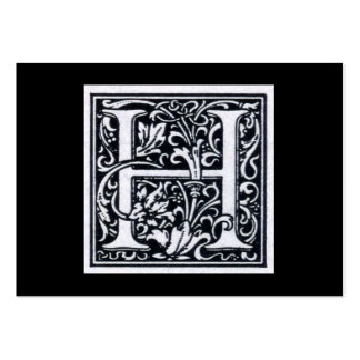 """Decorative Letter """"H"""" Woodcut Woodblock Inital Pack Of Chubby Business Cards"""