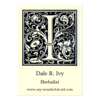 """Decorative Letter """"I"""" Woodcut Woodblock Initial Pack Of Chubby Business Cards"""
