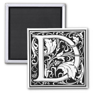 "Decorative Letter Initial ""D"" Square Magnet"