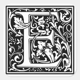 """DecorativeLetter Initial """"E"""" Square Sticker"""
