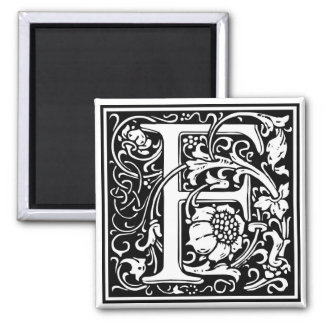 "Decorative Letter Initial ""F"" Square Magnet"