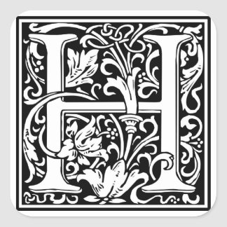 "DecorativeLetter Initial ""H"" Square Sticker"