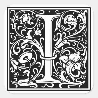 "DecorativeLetter Initial ""I"" Square Sticker"