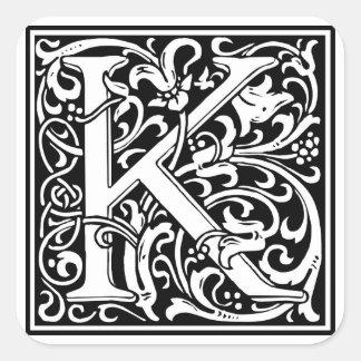 "DecorativeLetter Initial ""K"" Square Sticker"