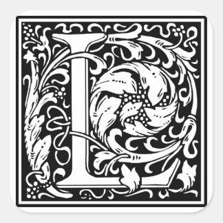 "DecorativeLetter Initial ""L"" Square Sticker"