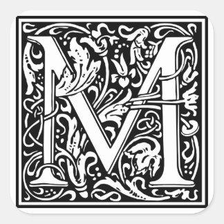 "DecorativeLetter Initial ""M"" Square Sticker"