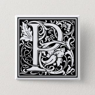 """DecorativeLetter Initial """"P"""" 15 Cm Square Badge"""