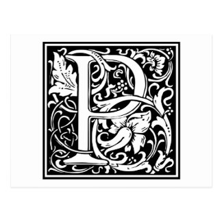 "DecorativeLetter Initial ""P"" Postcard"