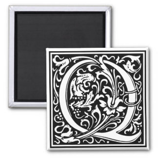 "Decorative Letter Initial ""Q"" Square Magnet"