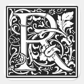 """DecorativeLetter Initial """"R"""" Square Sticker"""