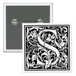 """DecorativeLetter Initial """"S"""" Pinback Buttons"""