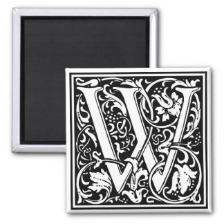 "Decorative Letter Initial ""W"" Magnet"