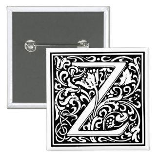 "DecorativeLetter Initial ""Z"" 15 Cm Square Badge"