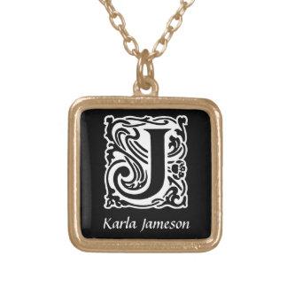 Decorative Letter J Monogram Initial Personalized Square Pendant Necklace