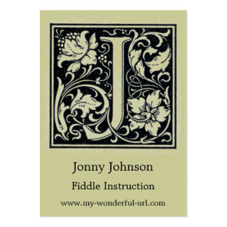 """Decorative Letter """"J"""" Woodcut Woodblock Initial Pack Of Chubby Business Cards"""